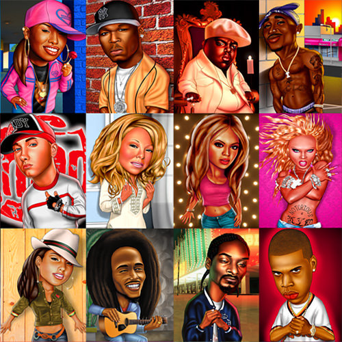 Caricatures of famous people.